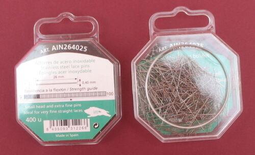 26mmx 0.40 mm SML Head Pin 400 en acier inoxydable satin//robe de Mariée//Mariage//dentelle pin