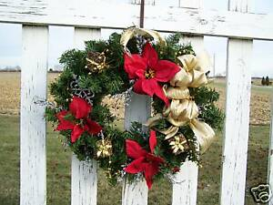 Childhood-Cancer-Gold-Trim-Artificial-Christmas-Wreath-Silk-Red-Poinsettias-etc