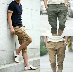 Men's Womens Casual Baggy Harem Cargo Capri Pirate Tapered Shorts ...