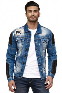 Cipo-amp-Baxx-Harley-Mens-Biker-Jeans-Jacket-Denim-Blue-CJ162-All-Size-NEW