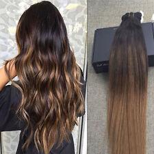 Remy Echthaar Clip in Hair Extensions Haarverlängerung Ombre blondine 7 Tressen