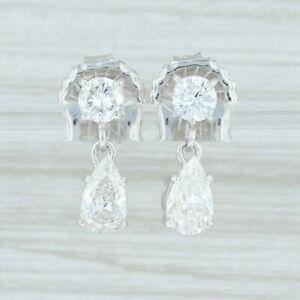 2-21ctw-Diamond-Teardrop-Earrings-14k-White-Gold-Pierced-Dangle-Round-amp-Pear