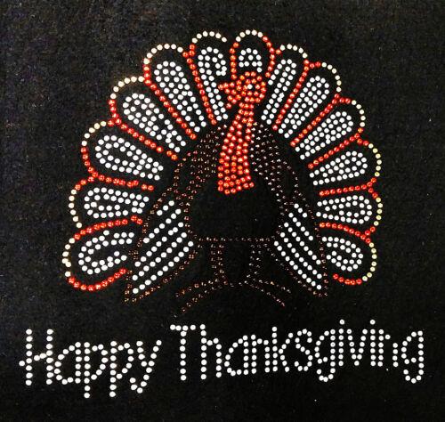 "HOTFIX RHINESTONES HEAT TRANSFER IRON ON /"" happy thanksgiving turkey/"""