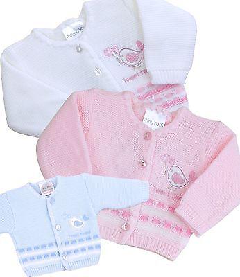 BabyPrem Frühchen Strickjacke Jungen Mädchen /'Tweet Tweet/'  Baby Kleidung 38-50