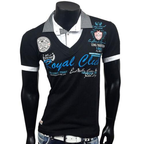 Uomo Camicia Maniche Corte V-Neck 2in1 Polo T-SHIRT MAGLIA POLO CONTRASTO COLLO bb-202350