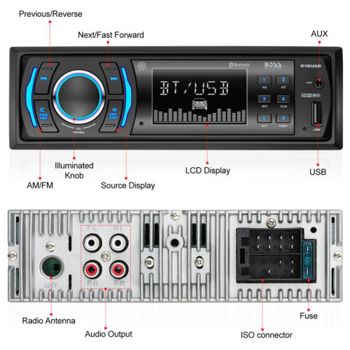 BOSS Audio 616UAB Car Stereo Single 1 Din Bluetooth USB//AUX//AM//FM Radio Player