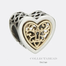 Authentic Pandora Sterling Silver & 14K Locked Hearts Bead 791740