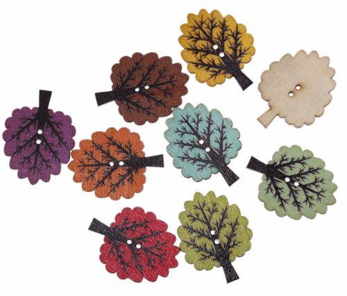 10 Pièces holzknöpfe 25x32mm 2 trous arbres coudre Bricolage Vêtements Décoration À faire soi-même