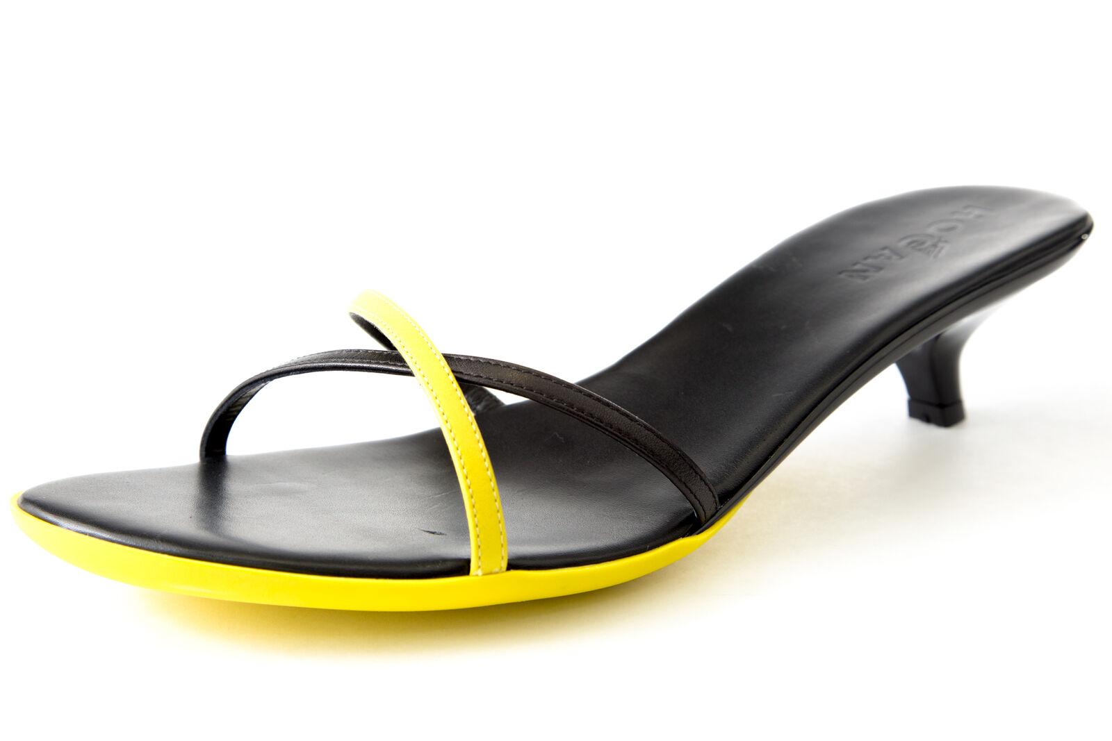 Hogan par TOD'S Nappe Croisées Bandes Chaussures Noires   Jaune Taille 9 Neuf