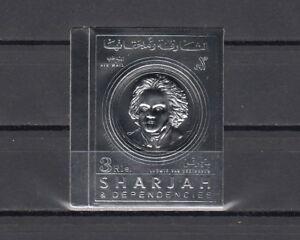 Imperf Silberfolie Top Wassermelonen Frank Sharjah Mi Cat 720 B.komponist Beethoven
