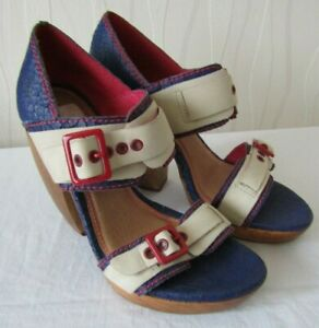 Women-039-s-Handmade-Block-Heel-Strappy-Quirky-Sandals-Shoes-Size-UK5-Feud-London