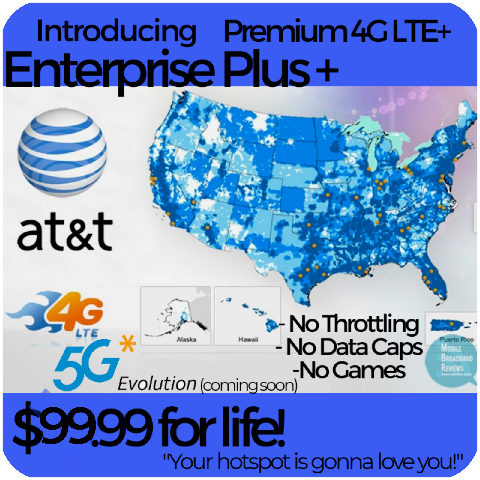 ATT 4G LTE Unlimited HOTSPOT Data $99.99 UNTHROTTLED NO CAPS TRULY UNLIMITED SIM. Buy it now for 99.99