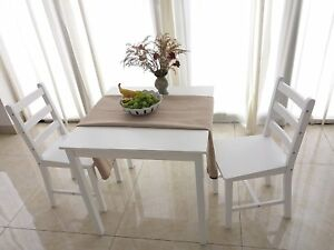 Details About Small White Wooden Dining Table And 2 Chairs Set Kitchen Diner Breakfast Room