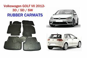 Rubber-Car-Floor-Mats-All-Weather-Carmats-Alfombrillas-Goma-VW-GOLF-VII-2012