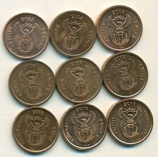 9 DIFFERENT 5 CENT COINS from SOUTH AFRICA with CONSECUTIVE DATES of 2003-2011