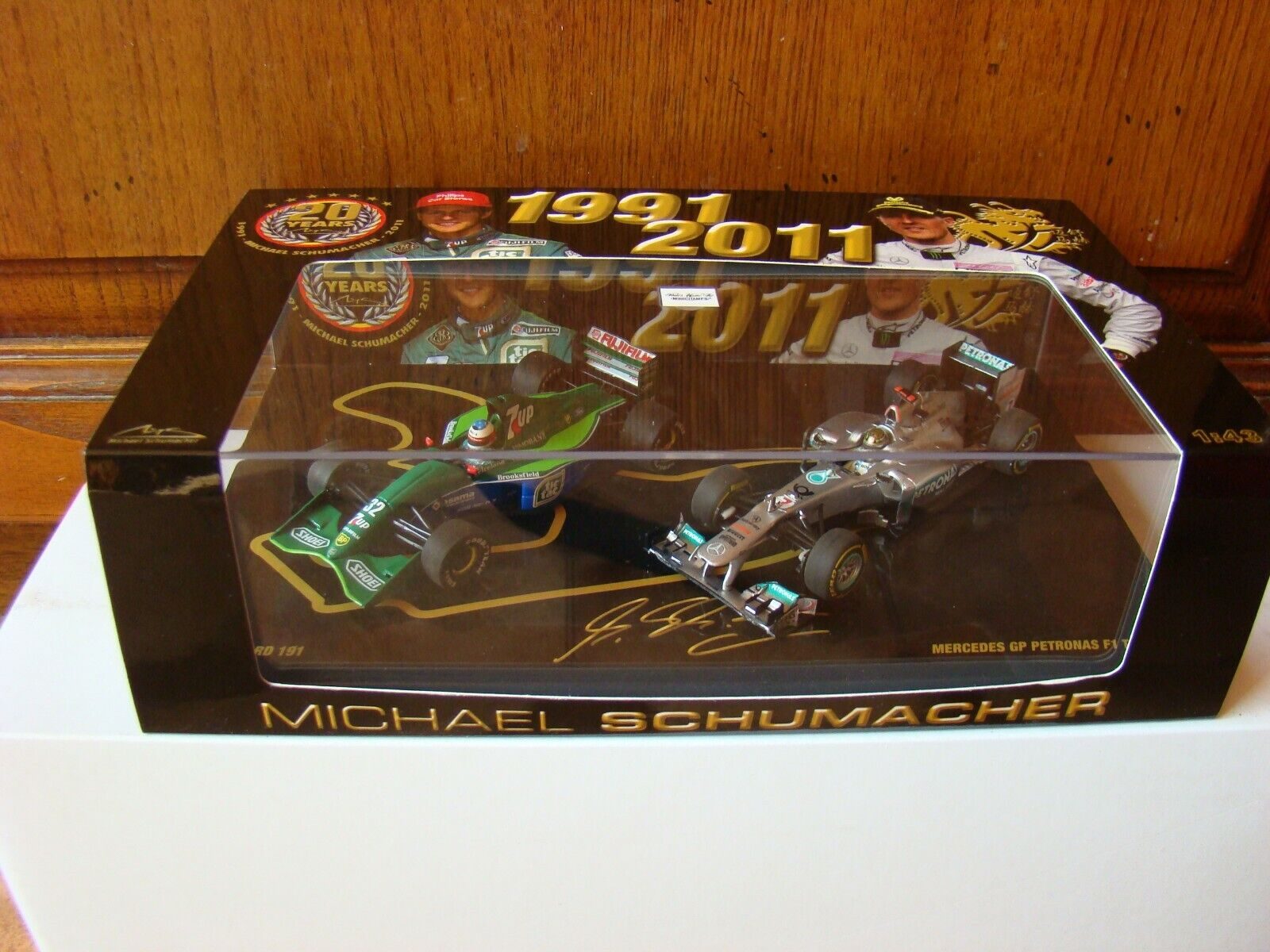 MERCEDES F1 20 YEARS  COFFRET DOUBLE SET M.SCHUMACHER 1 43 EME  MINICHAMPS RARE