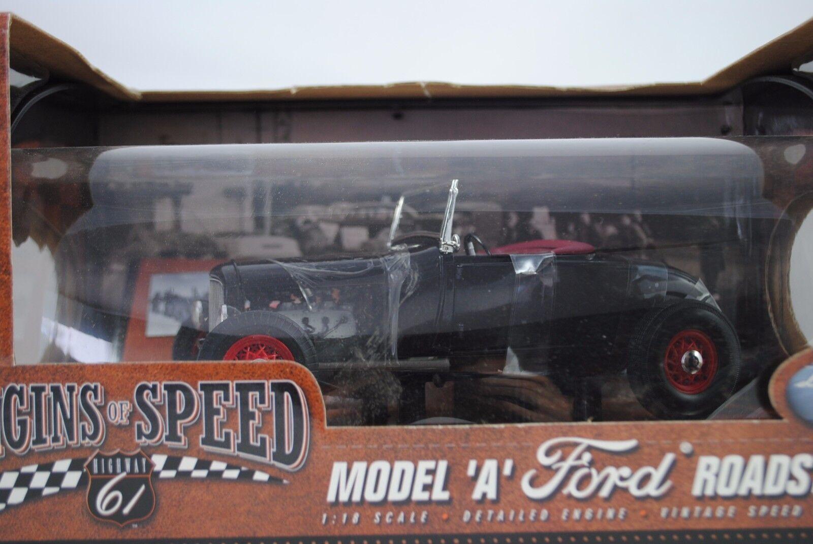 1 18 Highway 61  50161 Ford Model A Roadster negro-rareza