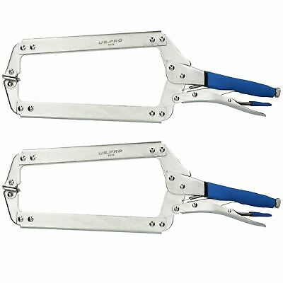 """18/"""" Welding Locking C Clamps Adjustable Fastener with Quick Release Grip 2 Pack"""