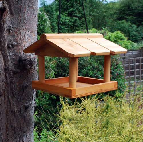 HANGING WOODEN BIRD TABLE GARDEN WILD BIRDS TREE OR BRACKET HANG FEEDING STATION