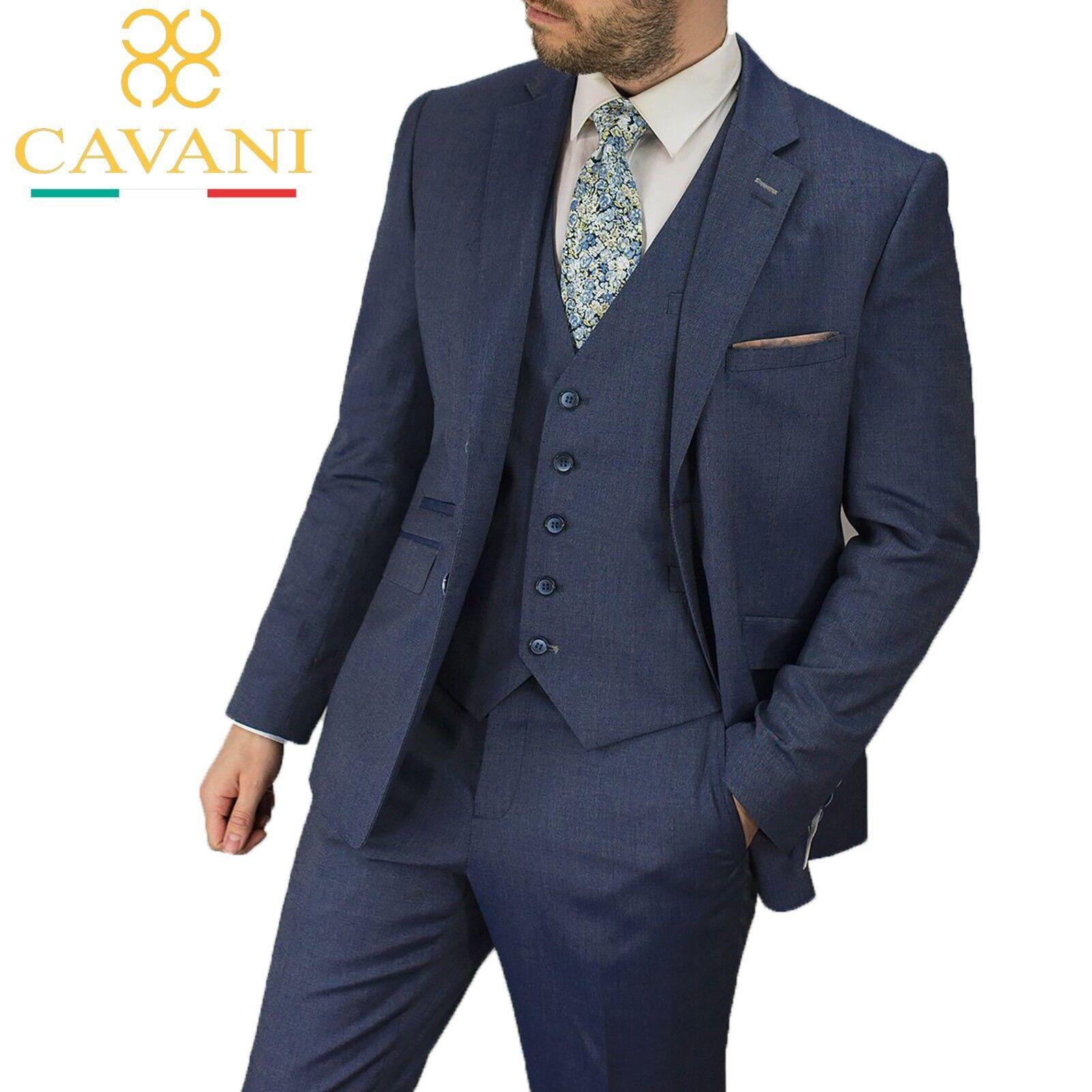 Herren Cavani Navy Blau Wedding Formal Lined Blazer 3 Piece Suit Sold Separately