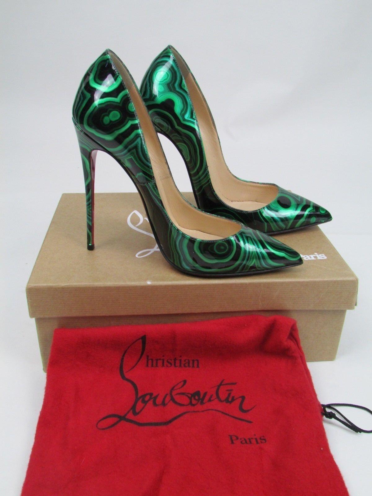 Christian Louboutin così Kate Malachite Malachite Malachite Verde Smeraldo Scarpe con tacco in vernice nera misura 39 e3f9b6