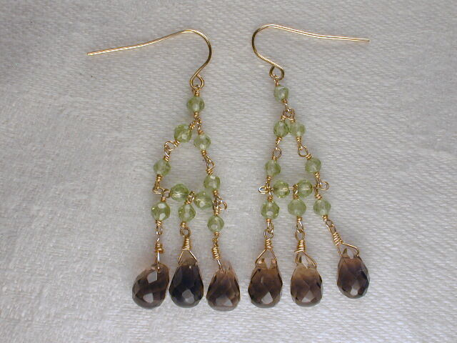 Beautiful Estate 14K Yellow gold Smokey Topaz Quartz Peridot Dangle Earrings
