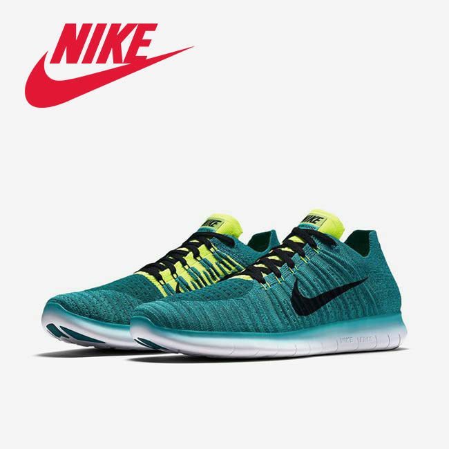 Nike Free RN Flyknit Hommes Running Training Chaussures Jade Noir Teal