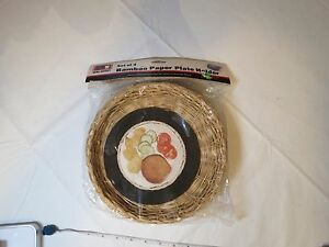 Image is loading set-of-4-BAMBOO-paper-plate-holders-NOS- & set of 4 BAMBOO paper plate holders NOS WAL-MART weave VINTAGE ...