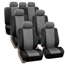 Premium PU Leather GrayBlack 7Seater 3 Row Full Set Seat Covers Split Bench Auto