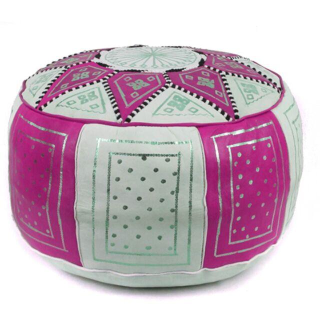 Moroccan Fez Pouf Leather Ottoman Footstool Pouffe Hassock POUFF EBay Beauteous Shaggy Pouf Ottoman