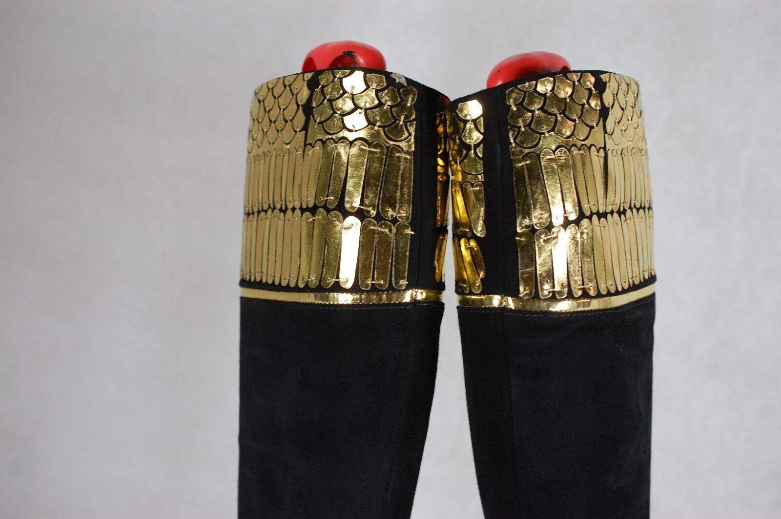 ROBERTO CAVALLI HI HEEL HEEL HEEL PLATFORM WOMEN BLACK&gold SUEDE  BOOTS EU 38.5  US 8.5 6b342c
