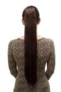 Postiche-Tresse-Tres-Long-Lisse-Tombant-Epingle-a-Cheveux-Papillon-70-cm-Braun