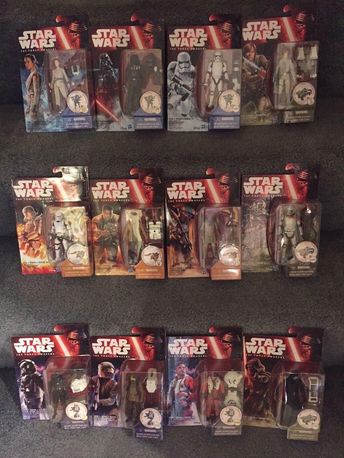 Star Wars The Force Réveille Complet Wave 1 set 3.75 Figures Hasbro