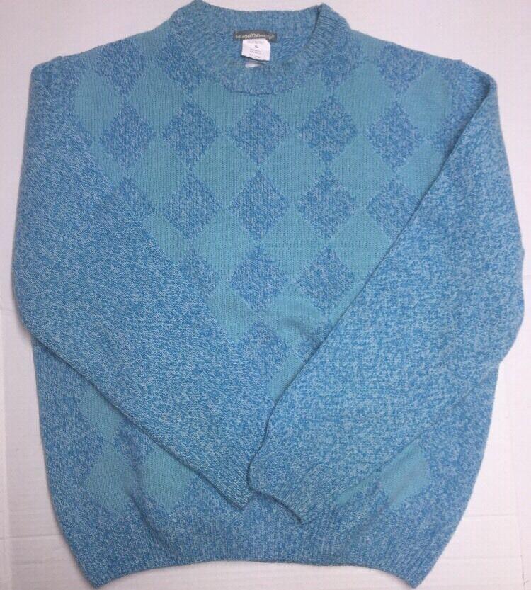 browntto - Men's  Sweater 100% Merino Wool bluee Diamond Pattern XL NWD