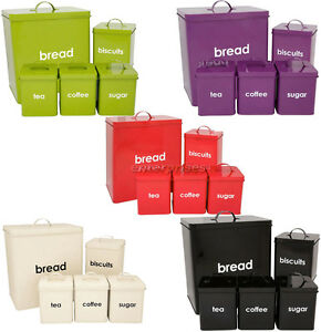 5PC-PIECE-METAL-BREAD-BIN-STORAGE-CANISTERS-SET-SUGAR-COFFEE-TEA-ENAMEL-COATED