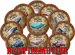HORLOGE-MURAL-AVEC-HISTORIQUE-vehicules-amp-classique-Voiture-Marque-d-ANCIENNE