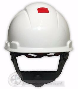 Hard Hat,4 pt Ratchet,HDPE,White 3M H-701R