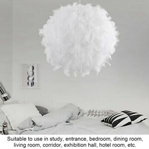 Details zu Pendel Leuchte Wohnzimmer Decken 40CM Hänge Beleuchtung Weiß  Feder Lampe Rund