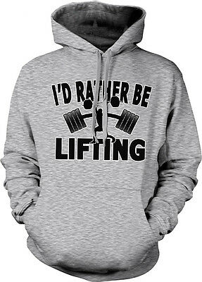 Id Rather Be Lifting Weights Exercise Workout Funny Hoodie Pullover Sweatshirt