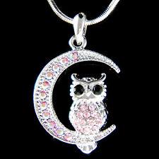 w Swarovski Crystal ~Pink Owl on Moon Hoot Bird Halloween Charm Pendant Necklace