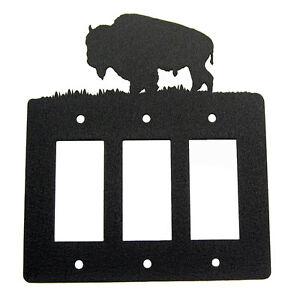 Buffalo / Bison black triple GFCI rocker light switch plate cover