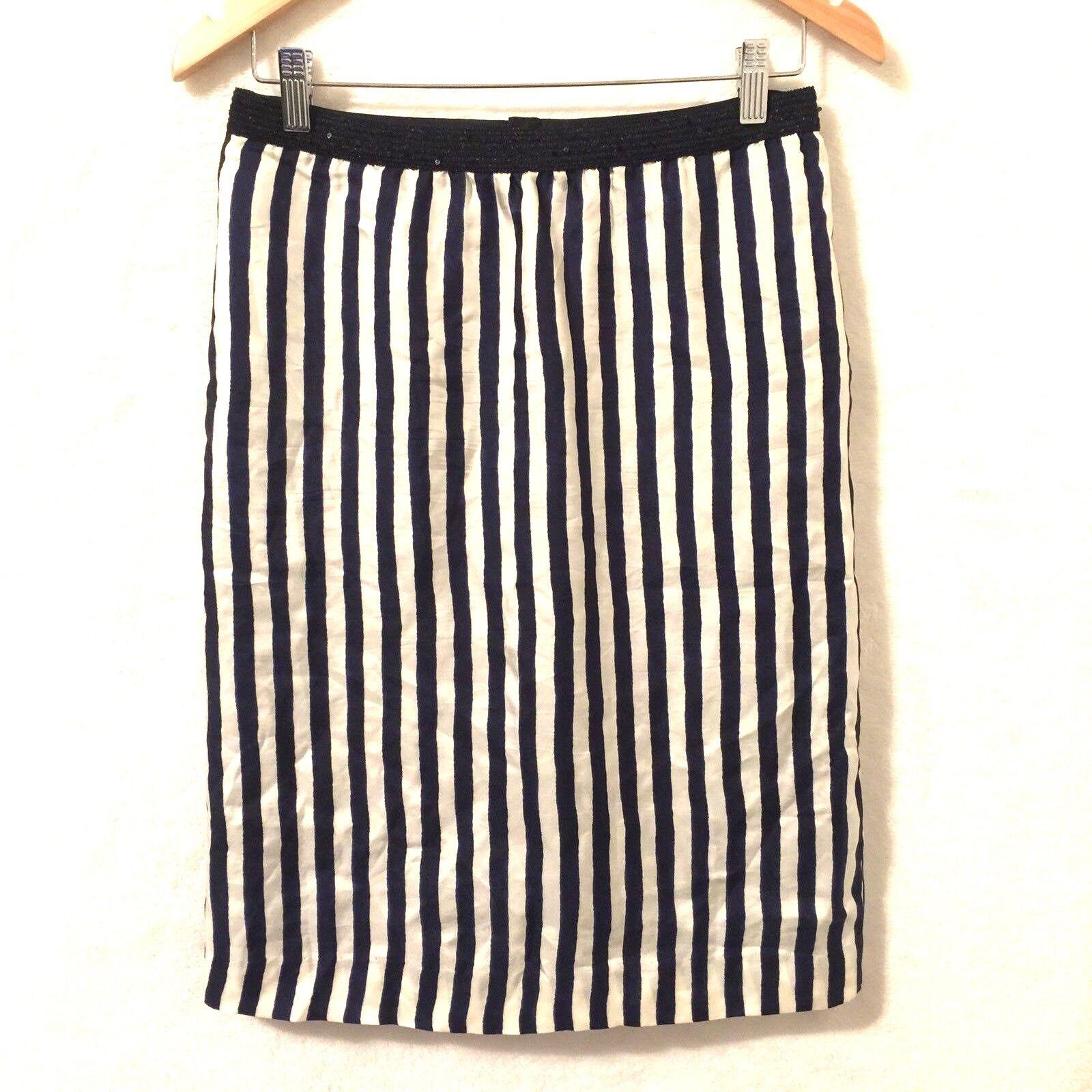 Pas De Calais Skirt Women's Size Small Silky Striped Over Knee Career Work Date