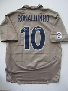 check out 5c7f7 23b17 Details about Nike 03-05 Barcelona Ronaldinho Away Soccer Jersey Tan Messi  Brasil Ronaldo XL