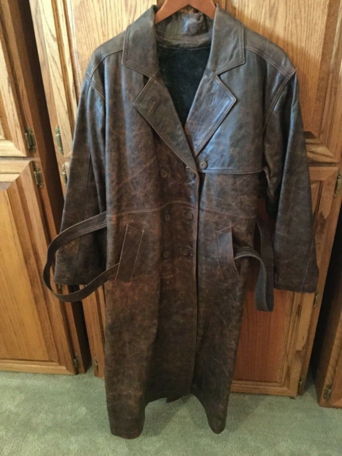 Genuine Turkish Calfskin Antique Dark Brown Leather Double Breasted Full Length