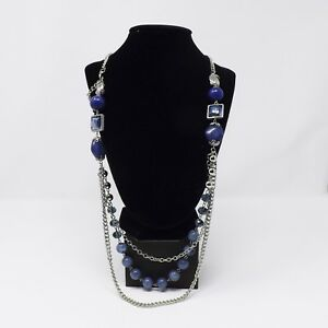 Catherines-36-034-Silvertone-amp-Blue-Beaded-Necklace