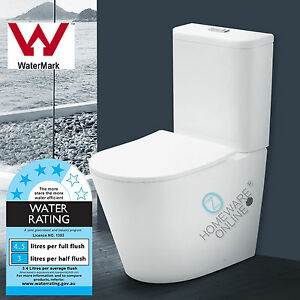 Rimless-Toilet-Suite-Ceramic-Back-to-Wall-S-TRAP-P-TRAP-WELS-WATERMARK-NEW