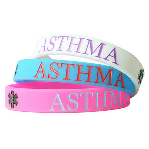 Image Is Loading Asthma Alert Medical Wristband Silicone Bracelet Bangle Gift