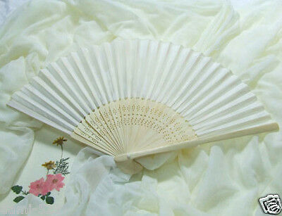 1Pc White Silk Folding Hand Fan For Outdoor Bridesmaid Wedding Favours Decor