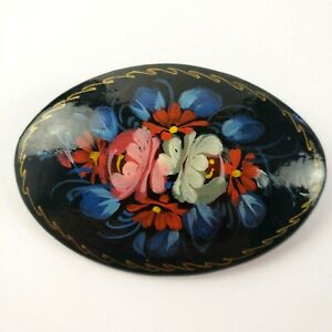 Vintage-Russian-Flower-Hand-Painted-Wood-Lacquer-Brooch-Pin-Signed-Black