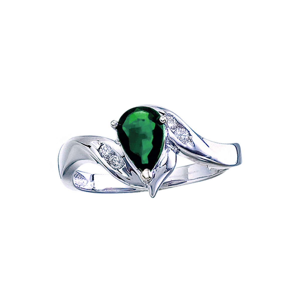 14k White gold Pear Emerald And Diamond Swirl Ring